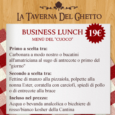 menù Cuoco business lunch taverna del ghetto