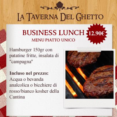 business lunch menù piatto unico Hamburger taverna del ghetto