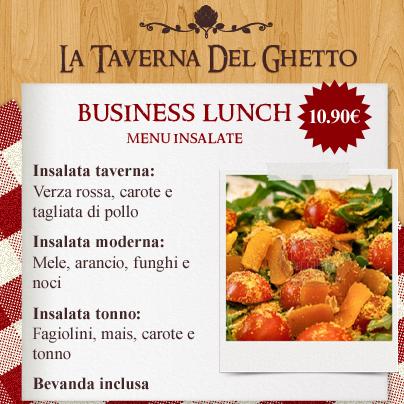 business lunch menù Insalate taverna del ghetto