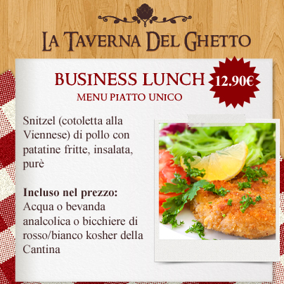 business lunch menù piatto unico Snitzel taverna del ghetto