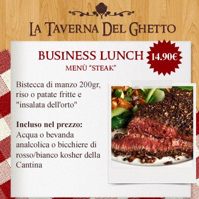 business lunch menù steak taverna del ghetto