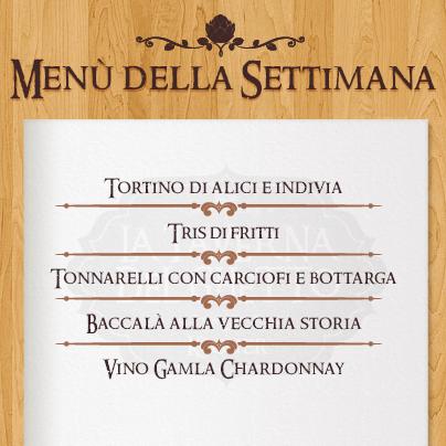 menù settimana taverna del ghetto dal 2 al 8 dicembre